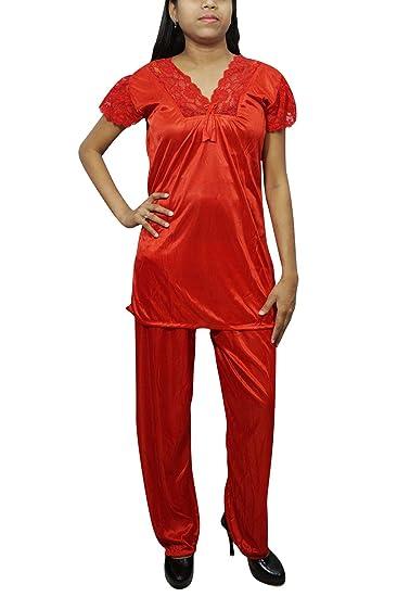 e47dad2a52 Indiatrendzs Women 2pc Pyjama Set Solid Night Suit Satin Top & Pyjama Set  Red: Amazon.in: Clothing & Accessories