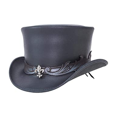 71596c82c9d0 Amazon.com: Voodoo Hatter El Dorado-Fleur De Lis Band by American Hat  Makers Leather Top Hat: Clothing