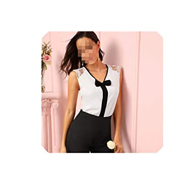 arrives promo codes aliexpress Bow Detail V Neck Blouse Sleeveless Lace Trim Blouses Office ...