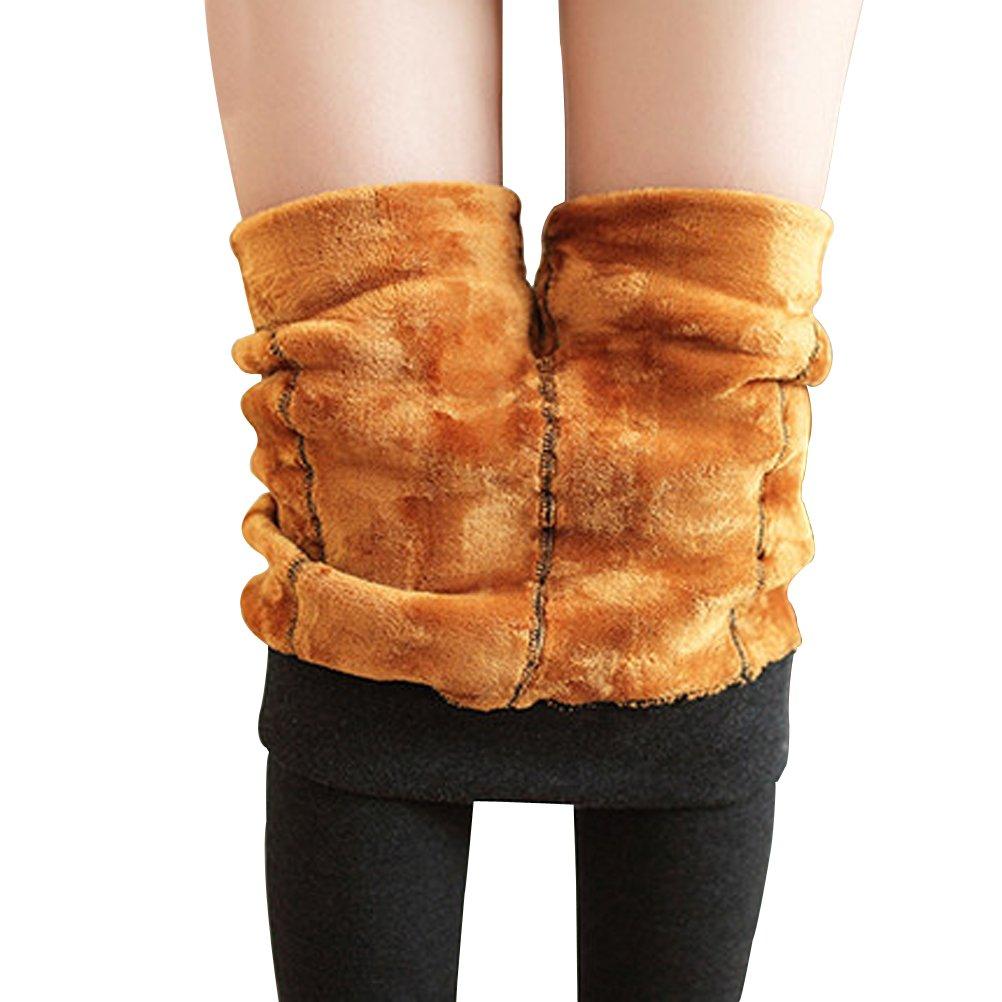 Govc Winter Women Warm Gold Velvet Thick Leggings (One Size, Black)