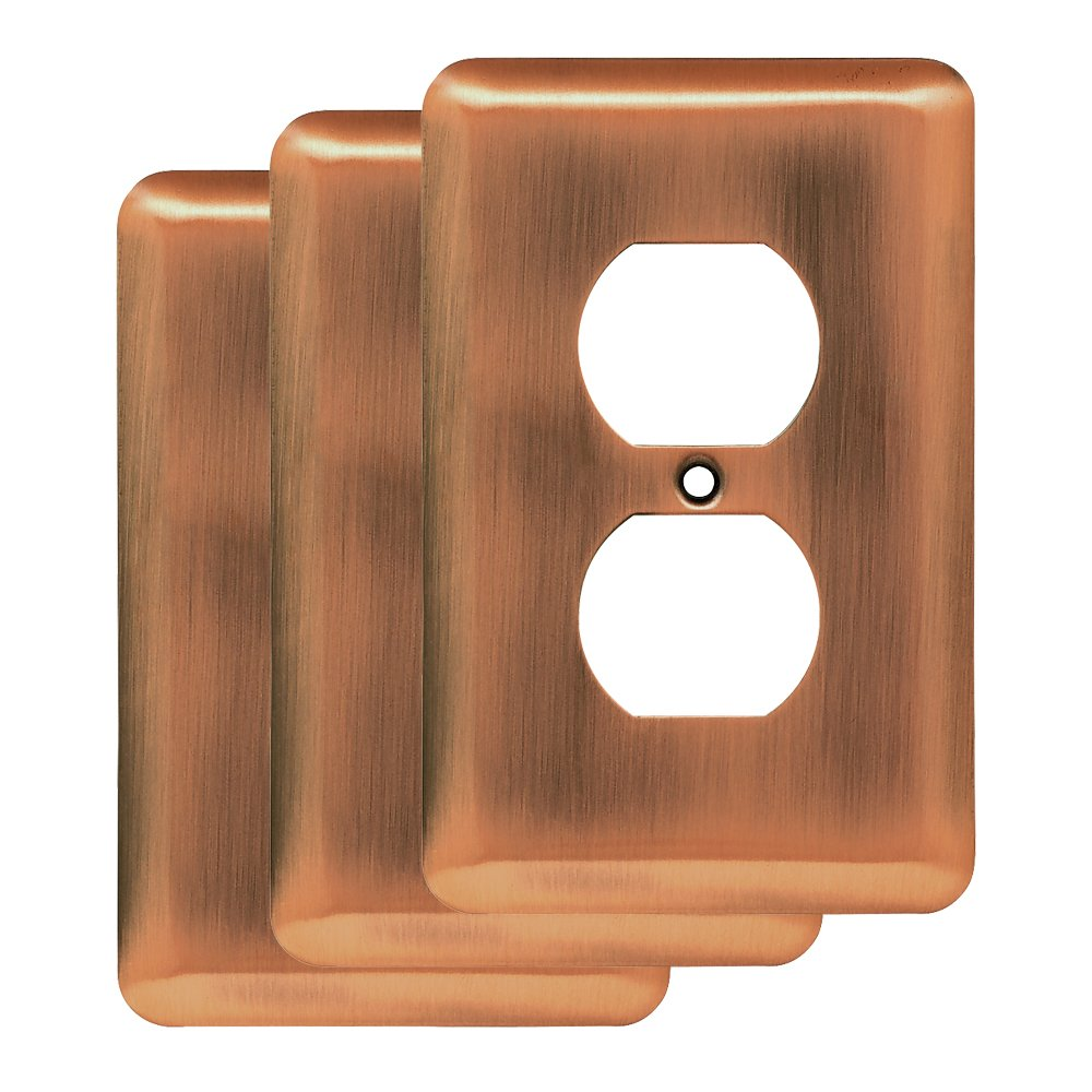 Franklin Brass W10249V-AC-R Stamped Steel Round Single Duplex Wall Plate, Antique Copper, Pack of 3