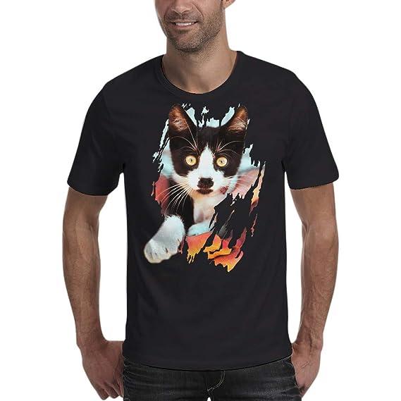 Internet_Verano Moda Ocio Doodle Lindo de la impresión del Gato de la Historieta en 3D Agujero Color sólido Cuello Redondo Camiseta Manga Corta/ Sudadera ...