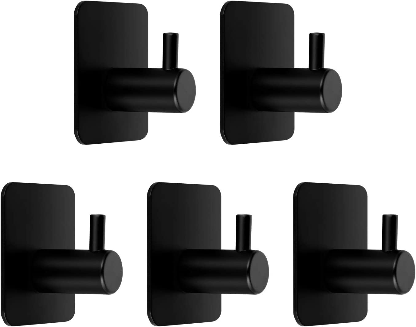HELKKMOBathroom Wall HooksHeavy-Duty 66lb (MAX) NailFree Wall HangersHooksStick onHooks, 304 Stainless Steel Hooks Used for OfficeHome Kitchen and Bedroom WardrobesBlack5 Packs
