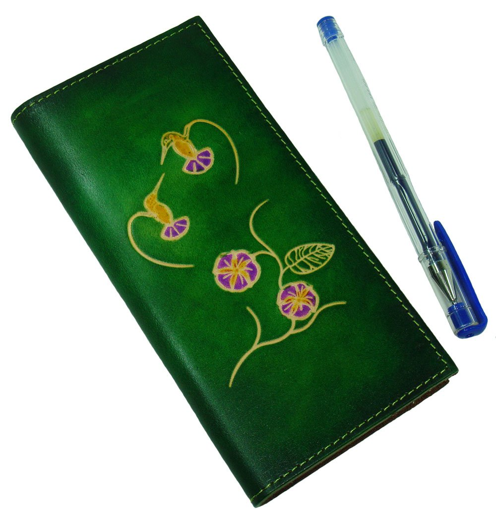 Real Leather Check Book Cover, Two HummingBirds and Flower Patterns Embossed on Both Side with Different Color(s). (Green)