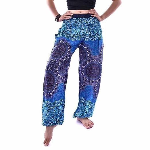 7f36e51304 BingYELH Women Thai Harem Trousers Boho Festival Hippy Smock High Waist  Yoga Pants (Free,
