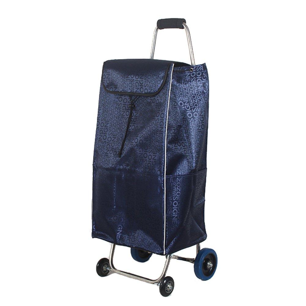 ZGL トラック 多機能トロリー家庭用ステンレススチール折りたたみカートポータブル4ホイールショッピングカート荷物用バッグカー (色 : 青) B07D7Y7SY6 青 青