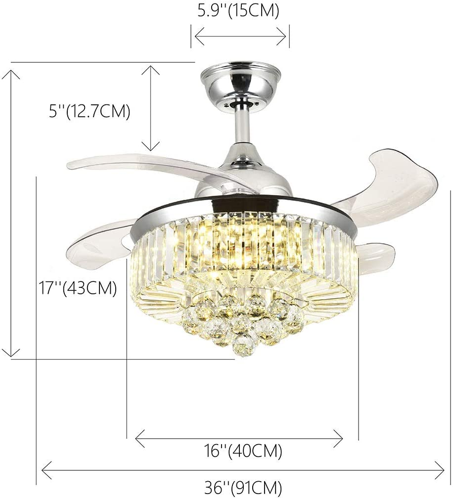 SILJOY Retractable Ceiling Fans with Lights and Remote Invisible Crystal Chandelier Lighting Dimmable LED 3 Color Changing Chrome Finish 36