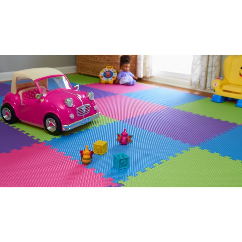 Home Innovations Anti Fatigue Interlocking Foam Tile Mats Multi Color (16 Pack)