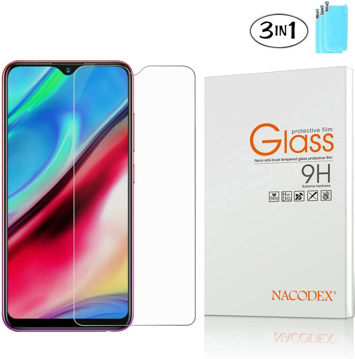 Color : Black JIANGNIUS Screen Protector 25 PCS for Galaxy A30 Anti-Glare Full Screen Tempered Glass Film Black