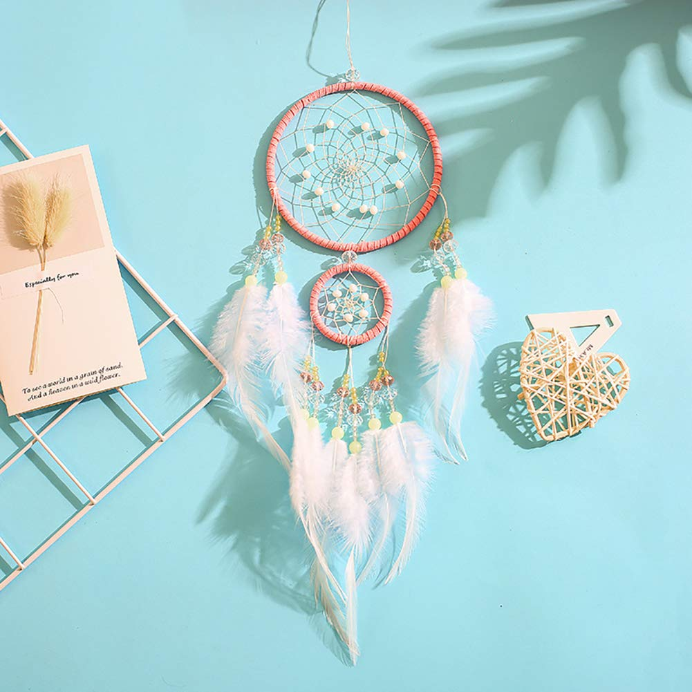 Dream Catcher Large Hollow Circle Rhinestone Wind Chime Wall Hanging Ornament ZqiroLt wind chime White