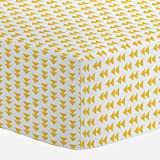 Carousel Designs Saffron Aztec Arrow Crib Sheet - Organic 100% Cotton Fitted Crib Sheet - Made in the USA