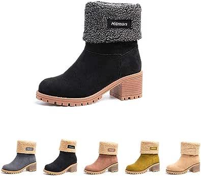 Botas Mujer Invierno Forradas Cálidas Botines Ante Plataforma Zapatos Nieve Cómodos Casual Negro Gris Marrón Caqui EU 35-43