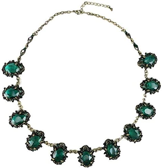 Hollywood Glam Piece. Emerald Rhinestone Waterfall Bib Necklace 14 Large Stones in Gold Comma Shape Links on Book Chain Strand