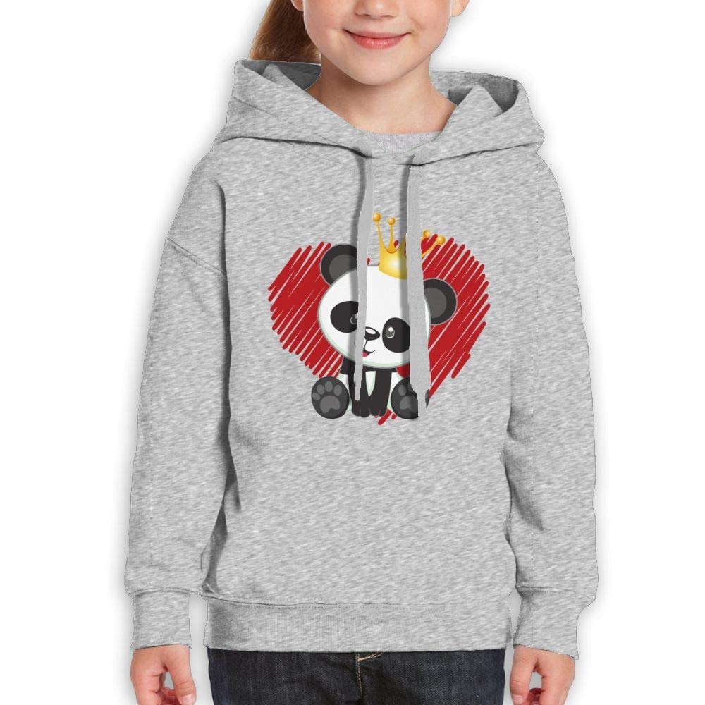 Kawaii with A Crown Panda and Heart Kids Hoodies Long Sleeve Sweatshirts Girl's