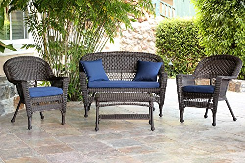 Traditional Conversation Set (Jeco W00201-G-FS011 4 Piece Wicker Conversation Set with Navy Blue Cushions, Espresso)