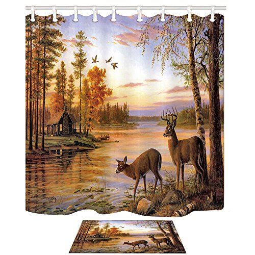 Elk Shower Curtain Bath Mats Animals theme, deer safair in stream river at Forest sunset, 69X70in Fabric Bathroom Curtain With 15.7x23.6in Flannel Non-Slip Floor Doormat Bath Rugs