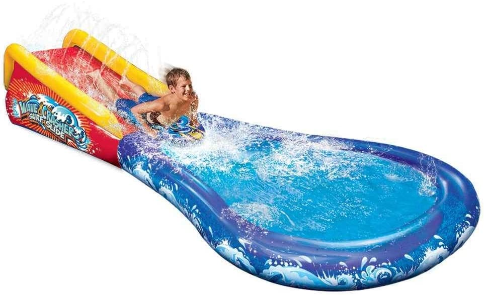 BANZAI Wave Crasher Surf Slide with Splash Pool Combo ( Spring Summer Inflatable Air Water Sprinkler Bonus Body Board )