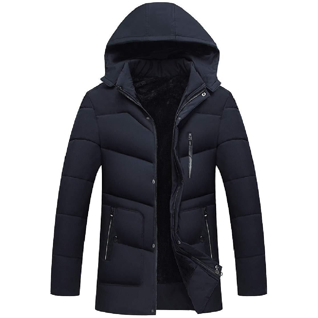 YUNY Men Open Front Thick Fit Brumal Zip-up Hood Down Outwear Coat Navy Blue M