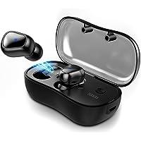 TGOGO Audífonos Bluetooth Inalámbricos, Bluetooth Auriculares Deportivos Impermeable In-ear 5.0 Manos Libres con Micrófonos dual con Caja de Carga para Coche iPhone Samsung Huawei Sony etc (Negro)