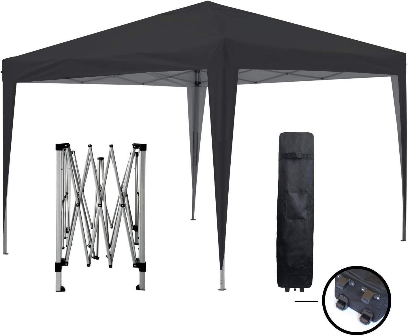 GREADEN - Cenador de jardín negro 3 x 3 m Eco Briso - Tubo 30 mm en aluminio & acero - lona 420d - Tienda de campaña plegable - GR-1FZ33420AO2: Amazon.es: Jardín