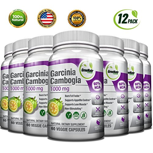 GreeNatr Garcinia Cambogia Extract 60 HCA – Natural Appetite Suppressant, Fat Burner and Weight Loss Supplement, 720 Veggie Capsules 12 Pack