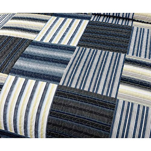 Plaid Quilt Set Full/Queen Size Striped Patchwork Bedspread Coverlet Gray Blue Yellow Black Bedding Lightweight Reversible All Season Bed Cover Set with 2 Pillow Shams