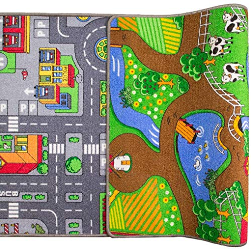 (Children's Double Sided Play Village Farm Mat Town City Car Roads Rug)