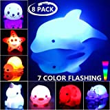 Bath Toys, 8 Packs Light-Up Floating Pool Fun Unicorn Dolphin Toys, 7 Color Flashing Bathtub Water Toys For Baby…