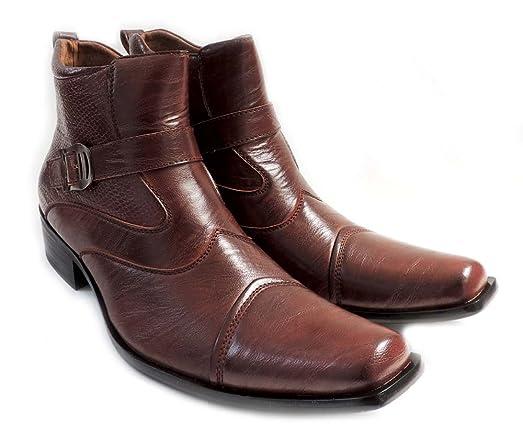 Delli Aldo NEW DELLI ALDO MENS STYLISH ANKLE BOOTS LEATHER ZIPPERED BUCKLE STRAPS COMFORT DRESS SHOES M606001PL BROWN Offer