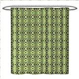 Anniutwo Mid Century Shower Curtain Collection by Atomic Form with Boomerang Details Dots and Crossed Lines Custom Made Shower Curtain W69 x L70 Apple Green Plum Bondi Blue