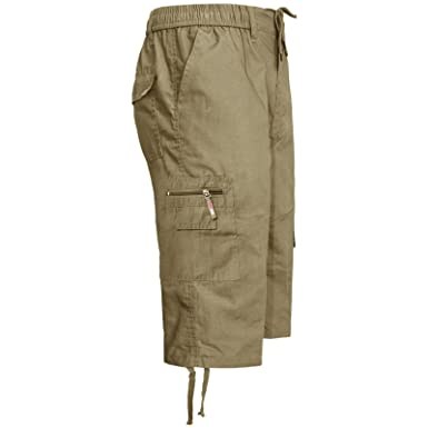 c6ebf5e517 MENS 3/4 ELASTIC WAIST CARGO SUMMER COMBAT 6 POCKET SHORTS TROUSERS PANTS:  Amazon.co.uk: Clothing