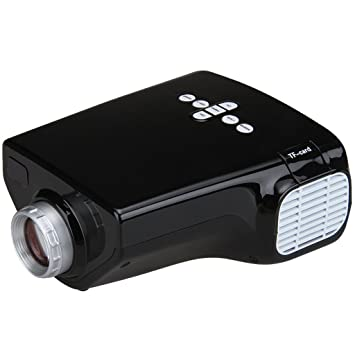 Excelvan E03 - Mini proyector LCD LED proyector Home Cinema (resolución 320*240, HD 1080P , 50 lúmenes, USB/VGA/HD/AV/ATV/tarjeta de TF), color negro