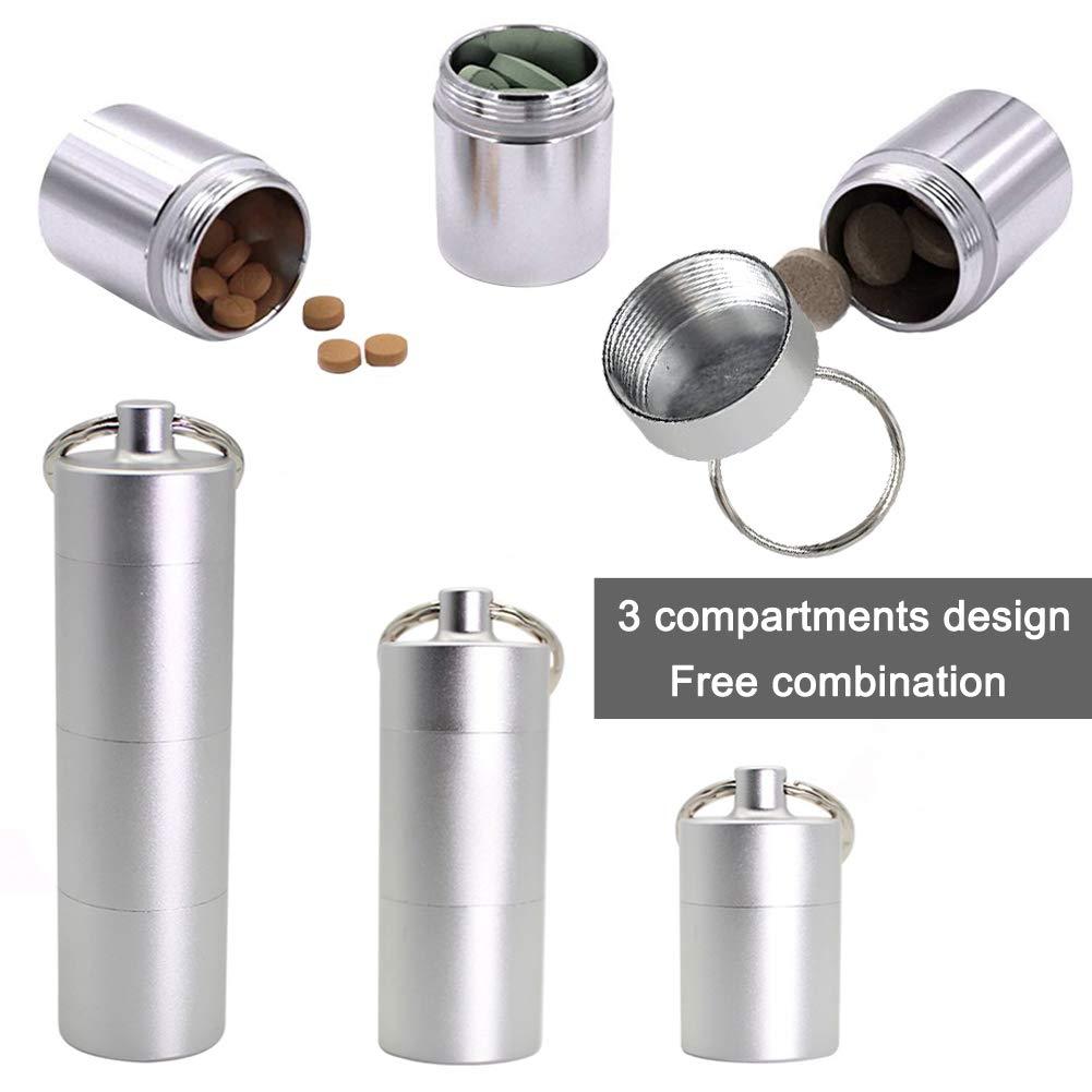 Porta Bottiglie in Alluminio Impermeabile per Pillola Contenitore per conservare Le Capsule in Capsule per Kit di Sopravvivenza da Viaggio allaperto 5 pz EQLEF Pillbox Portapillole