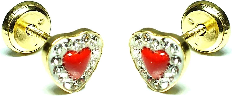 Pendientes oro 18k bebe niña mujer, diseño corazon con piedras engastadas y centro en coral, con cierre de rosca de seguridad cierre de seguridad