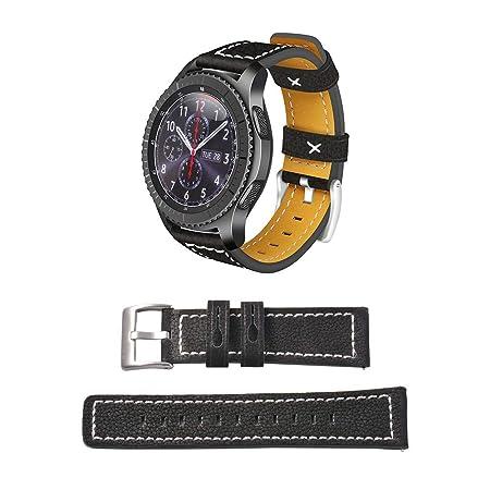 22mm Banda de Reloj del Cuero SmartWatch reemplazo de la Correa de ...