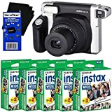 Fujifilm INSTAX 300 Wide-Format Instant Photo Film Camera (Black/Silver) + Fujifilm instax Wide Instant Film (100 sheets) + HeroFiber Ultra Gentle Cleaning Cloth