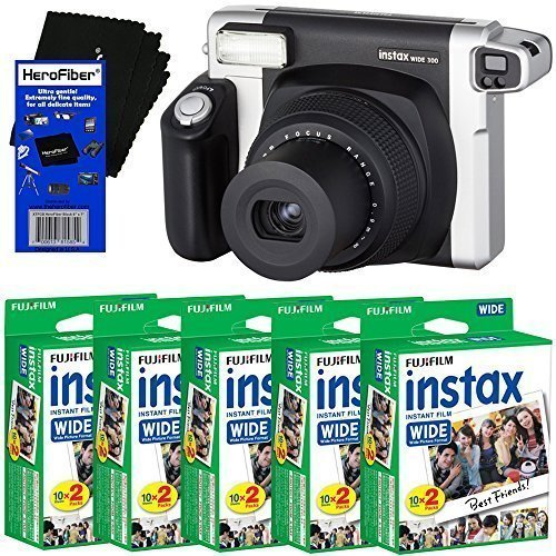 Fujifilm INSTAX 300 Wide-Format Instant Photo Film Camera (Black/Silver) + Fujifilm instax Wide Instant Film (100 sheets) + HeroFiber Ultra Gentle Cleaning Cloth by HeroFiber
