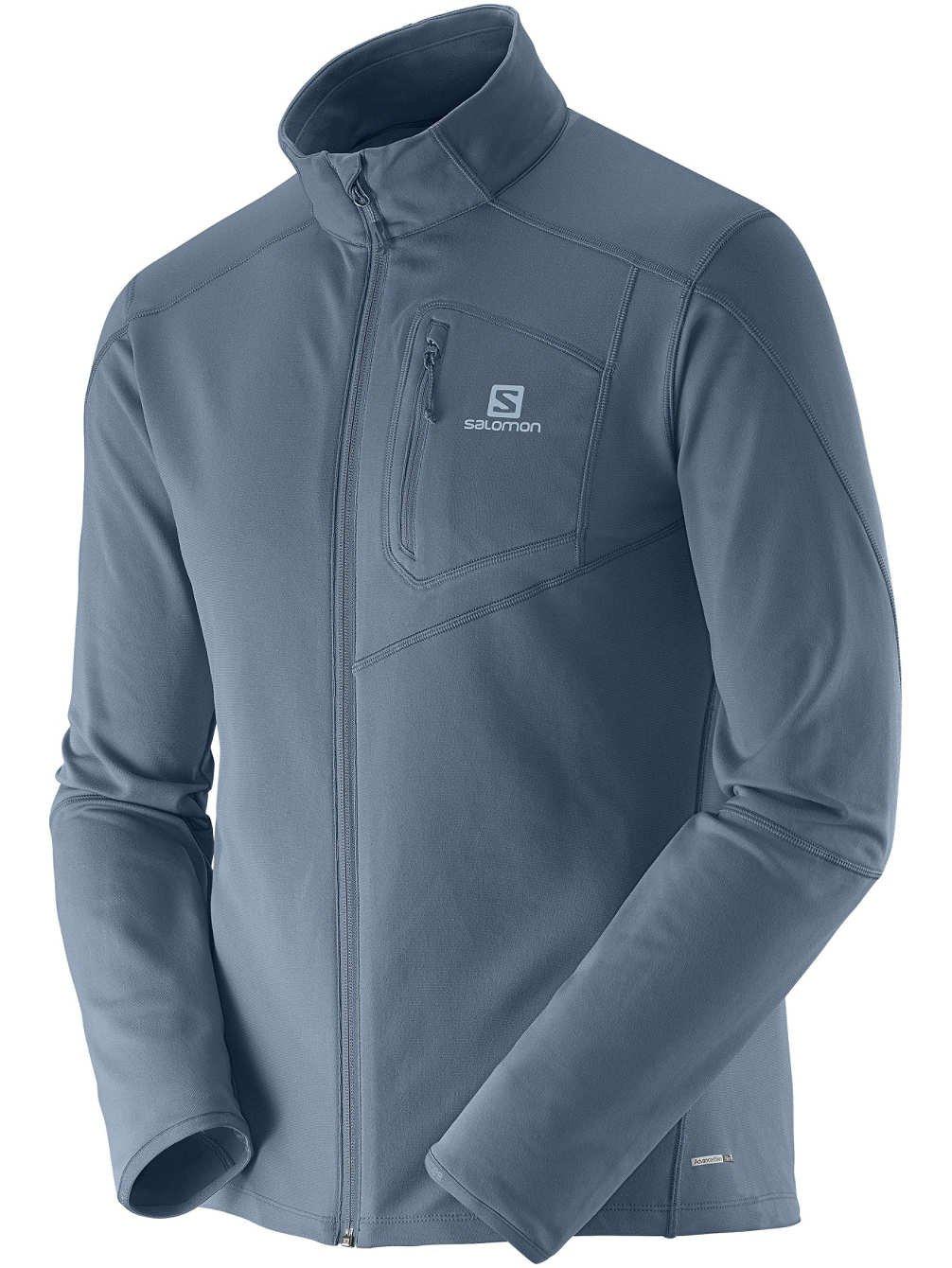 Salomon Mens Discovery Full Zip Midlayer Microfleece Jacket Light Blue