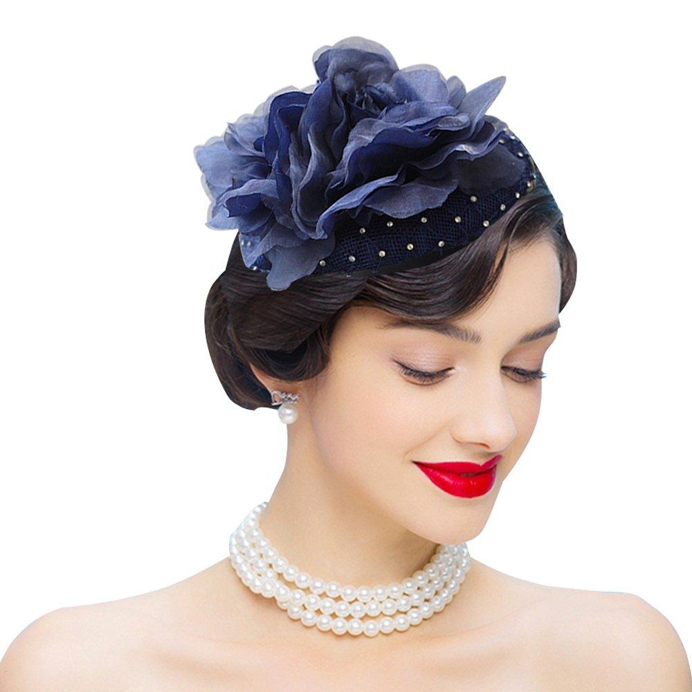 Edith qi Fascinators Headband Flower Pillbox Hat Hair Hoop Wedding Headpiece for Women Navy Blue