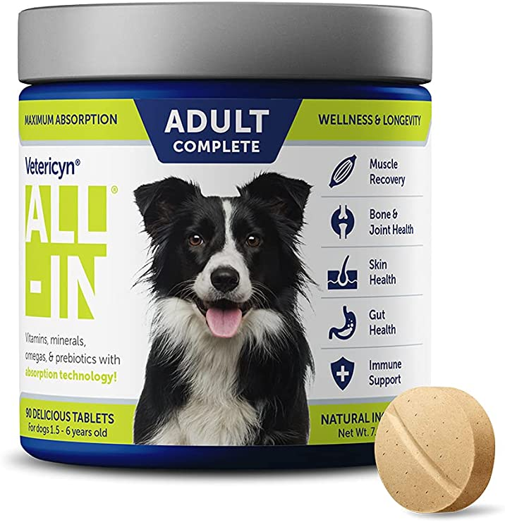 Vetericyn All-in Dog Supplement. Naturally Safe Daily Supplement with Optimal Absorption Technology. Bone and Joint Support. Maintain a Healthy Immune and Digestive System. 90 Tablets. 7.3 Ounces