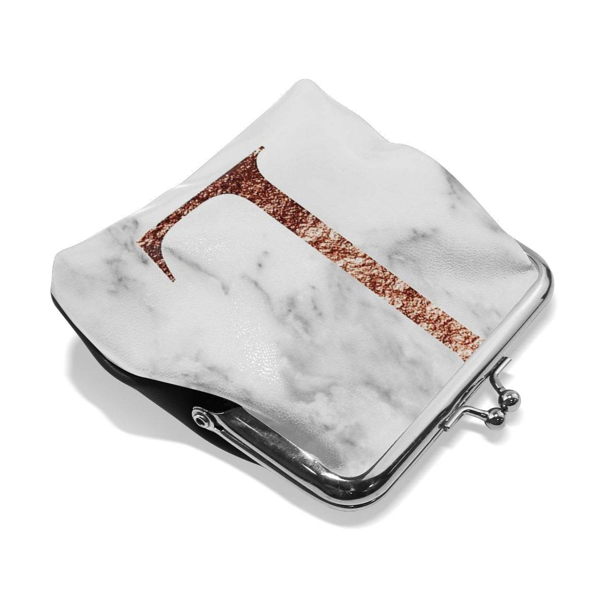 Poream Monogram Rose Marble L Personalized Retro Leather Cute Classic Floral Coin Purse Clutch Pouch Wallet For Girls And Womens