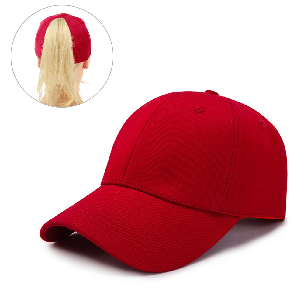 Leegoal Ponytail Baseball Cap, High Bun Baseball Hat Cotton Girls Baseball Cap