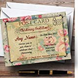 Floral Vintage Paris Shabby Chic Postcard Christening Party Personalized Invi...
