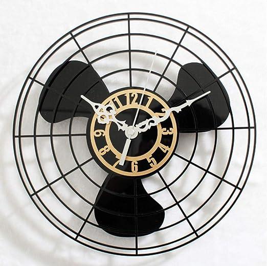 WANGZZZ Antiguo Ventilador eléctrico Reloj de Pared Reloj de Pared ...