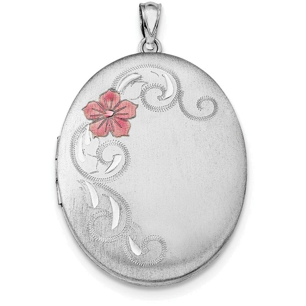 Finejewelers Sterling Silver W//Enamel Flowers 34mm Oval Locket Necklace