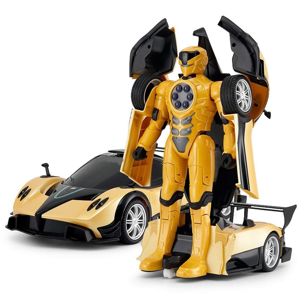 Verformung Fernbedienung Auto One Button Fernbedienung Verformung Auto Roboter Junge Kind Spielzeugauto Wiederaufladbare Spielzeugauto Spielzeug Modell Robot Modell (Farbe   Gelb) Gelb
