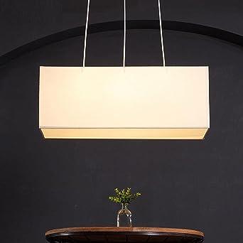 Pendelleuchte Klassisch Weiß Stoff Lampenschirm 3 Flammig Gute Qualität  Höhenverstellbar Hängeleuchte Modern Design Rechteck Wohnzimmer