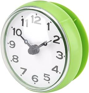 Ciglow Mini Waterproof Clock Electronic, Sucker Wall Clock Portable Bathroom Shower Clock Water.(Green)