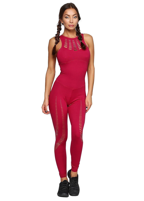 6ca8834ba7c Cajubrasil brazilian workout jumpsuit sexy laser cut one piece unitard  romper red clothing jpg 1035x1440 Workout