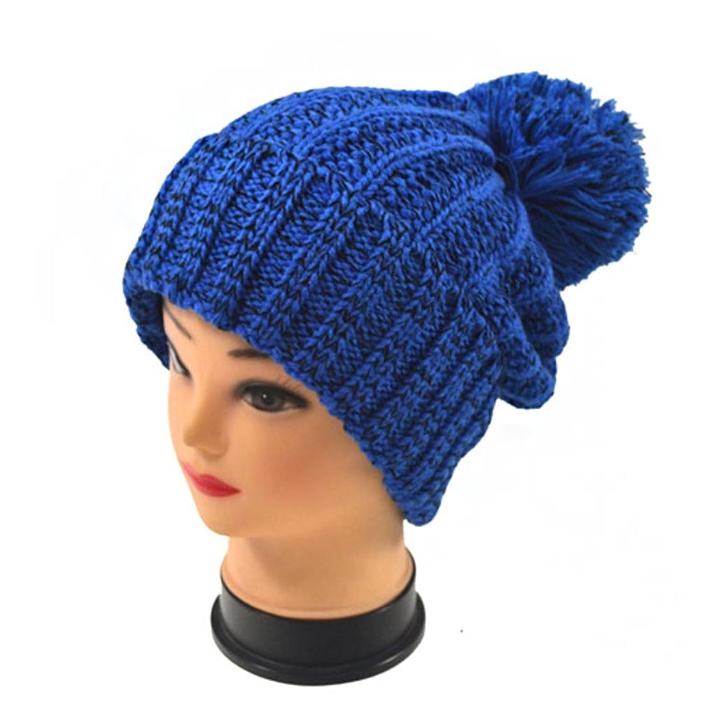 New Women's Blue Super warm knit Winter hat With giant pom pom Hat-Z2